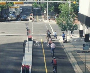 Education Day along the 7 Street SW Cycle Track (photo: City of Calgary)
